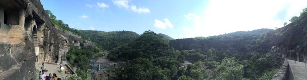 Panorama of the Ajanta Cave Complex.